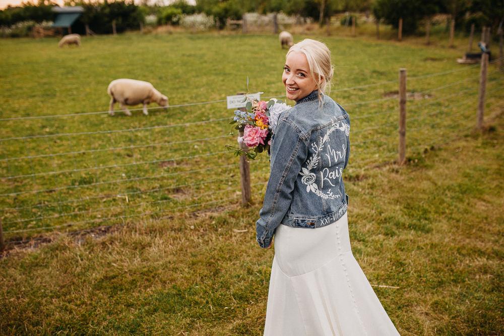 Bride Bridal Dress Gown Stella York Straps Train Veil Floral Petals Personalised Denim Jacket South Farm Wedding Miracle Moments