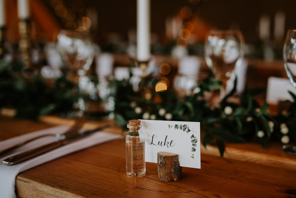 Log Place Name Card Calligraphy Tipi Hertfordshire Wedding Michelle Cordner Photography