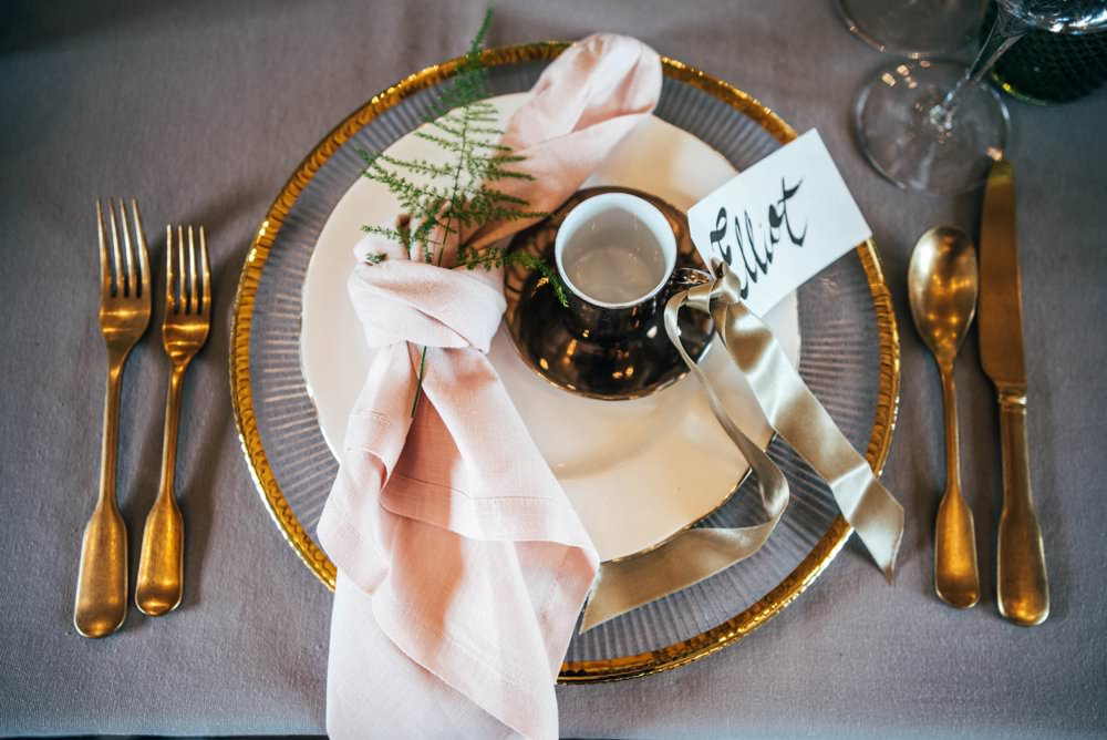 Place Setting Plate Napkin Place Name Calligraphy Tuffon Hall Wedding Three Flowers Photography