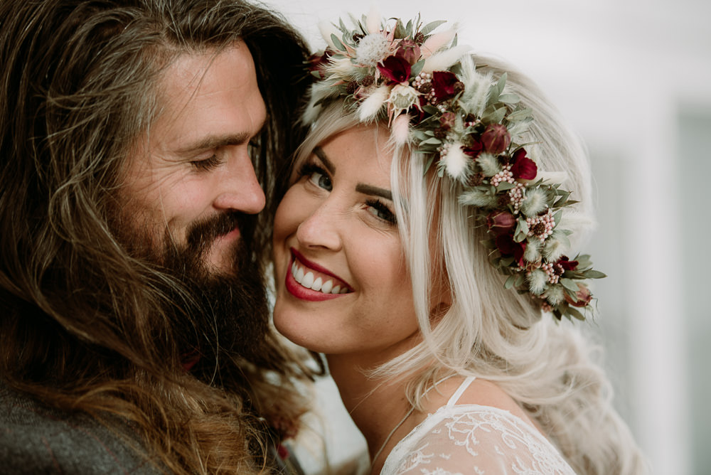 Bride Bridal Hair Style Up Do Plait Braid Flower Crown Unconventional Wedding Ideas Pierra G Photography