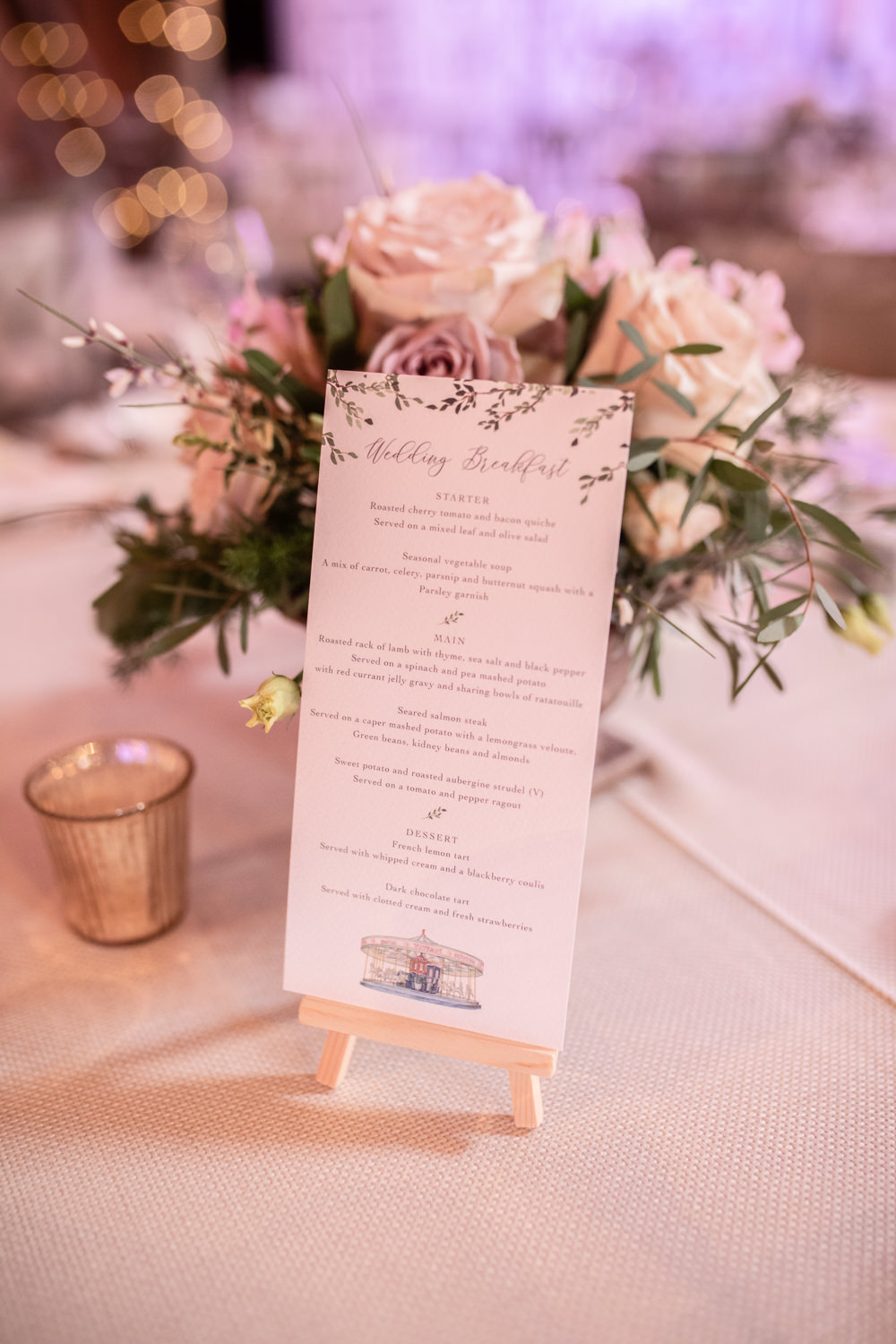 Mini Easel Menu Flowers Floral Rose Watercolour Wedding Kerry Ann Duffy Photography