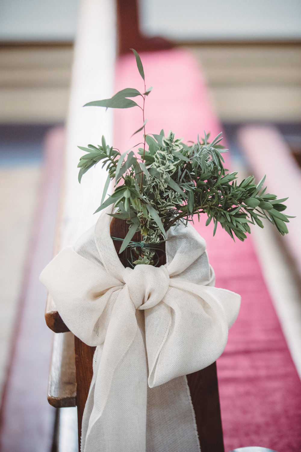 Pew End Aisle Greenery Foliage Sash Watercolour Wedding Kerry Ann Duffy Photography
