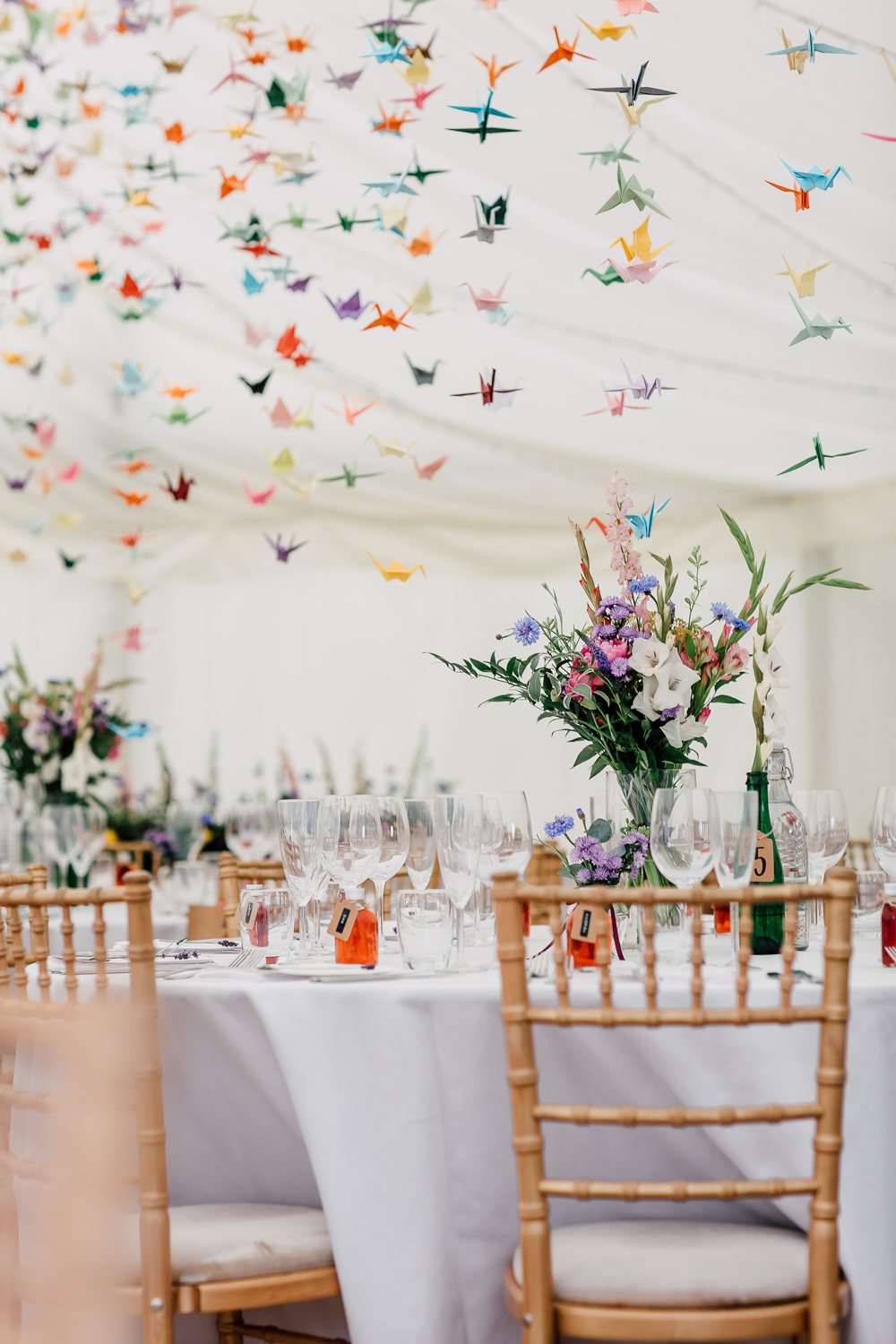 Marquee Origami Birds Paper Cranes Table Flowers Colourful Barff Country House Wedding Sarah Beth Photo