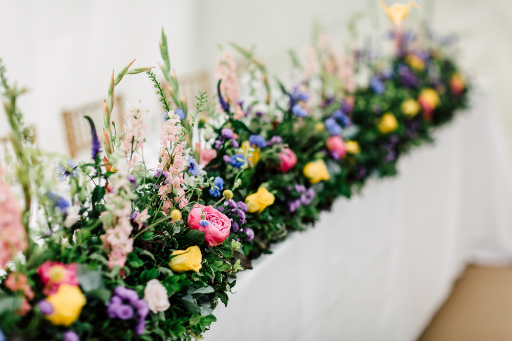 Table Flowers Top Table Runner Meadow Colourful Garland Barff Country House Wedding Sarah Beth Photo
