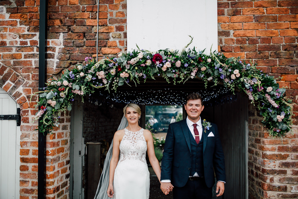 Flower Arch Garland Swag Outdoor Greenery Foliage Barff Country House Wedding Sarah Beth Photo