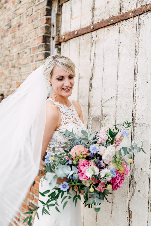 Bride Bridal Dress Gown Essense of Australia Halterneck Lace Veil Barff Country House Wedding Sarah Beth Photo