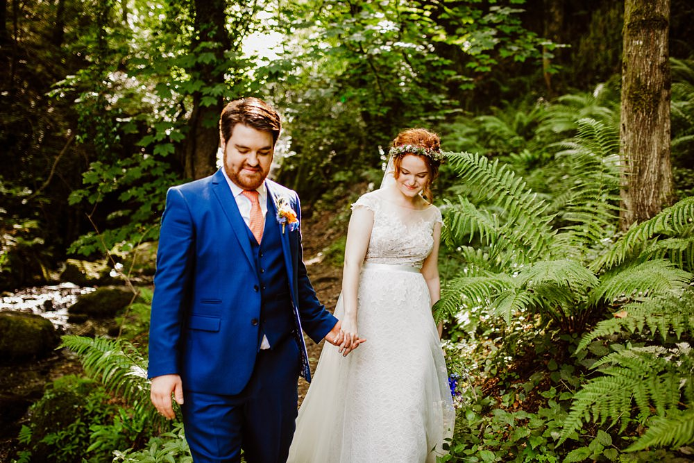 Groom Groomsmen Suit Blue ORange Tie Canonteign Falls Wedding Holly Collings Photography