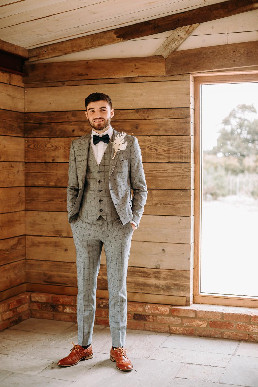 Groom Suit Grey Check Bow Tie Celestial Wedding Ideas Christine Thirdwheeling