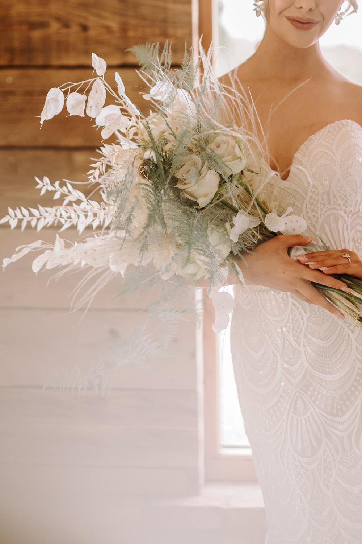 Bouquet Flowers Bride Bridal Pampas Grass Greenery Foliage Rose White Celestial Wedding Ideas Christine Thirdwheeling