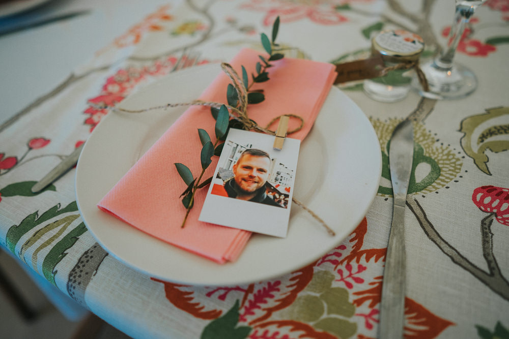 Place Setting Floral Napin Polariod Crafty Village Hall Wedding Dot and Scolly Photography