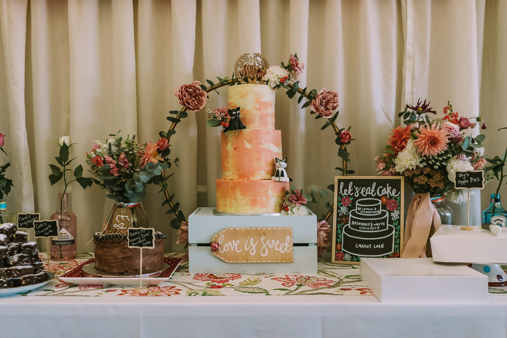 tCake Table Moon Gate Arch Brushstroke Buttercream Crafty Village Hall Wedding Dot and Scolly Photography
