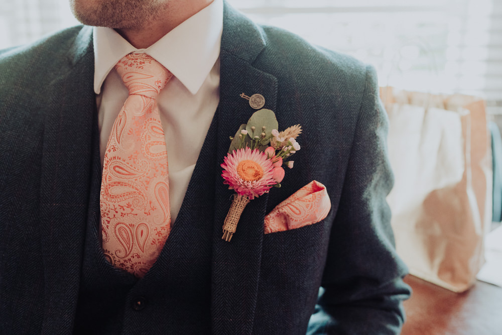 Groom Pink Tie Buttonhole FlowersCrafty Village Hall Wedding Dot and Scolly Photography
