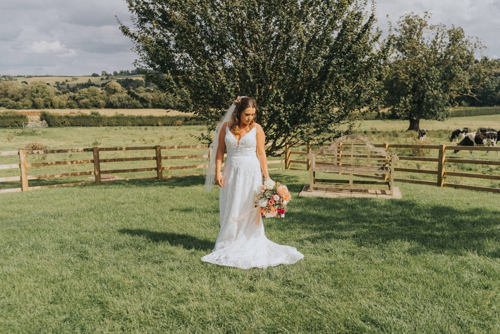 Dress Gown Bride Bridal Veil Straps Crafty Village Hall Wedding Dot and Scolly Photography