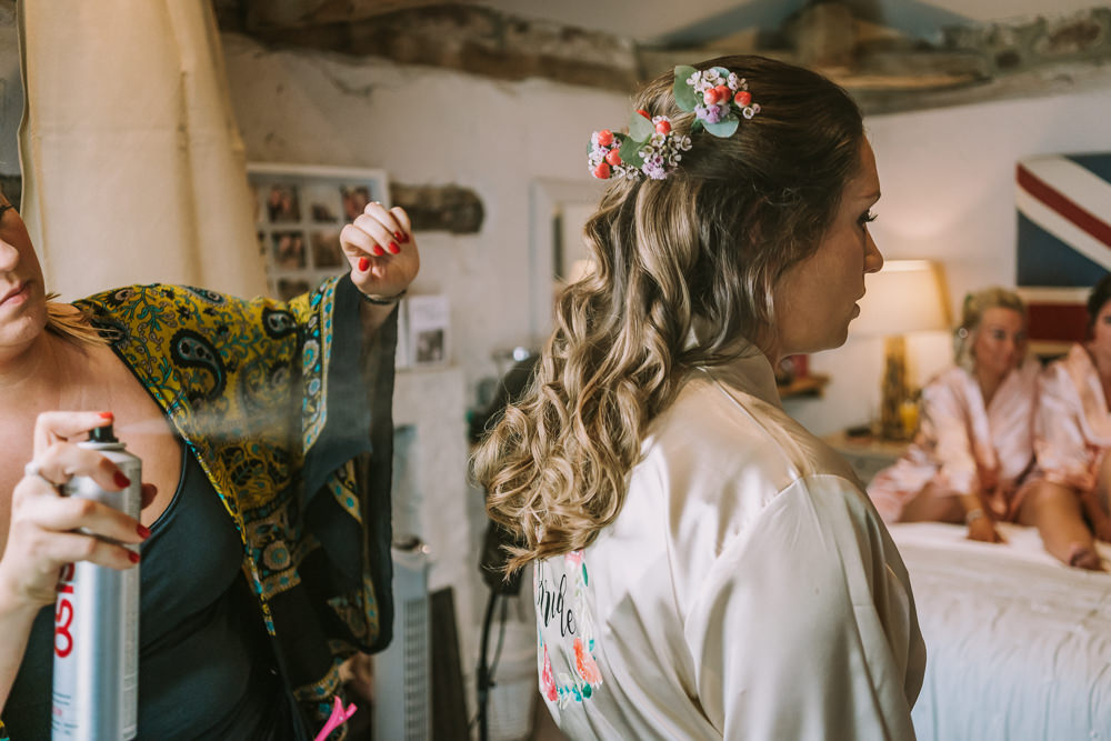 Bride Bridal Hair Flowers Waves Curls Crafty Village Hall Wedding Dot and Scolly Photography