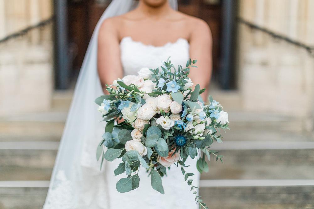 Bouquet Flowers Bride Bridal Eucalyptus Rose Thistle Gate Street Barn Wedding Camilla J Hards