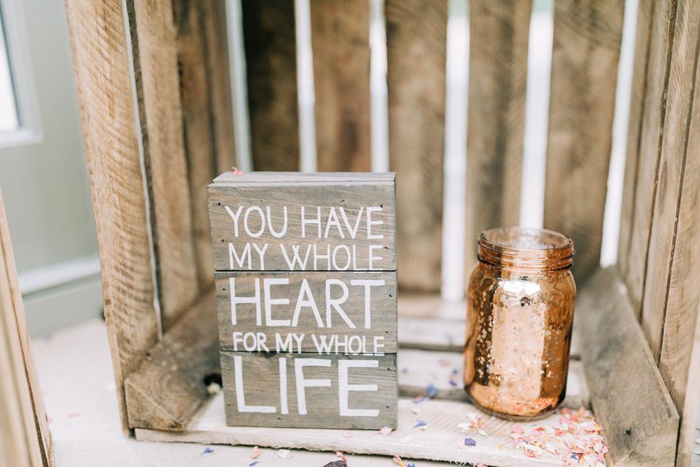 Wooden Love Quote Sign Gate Street Barn Wedding Camilla J Hards