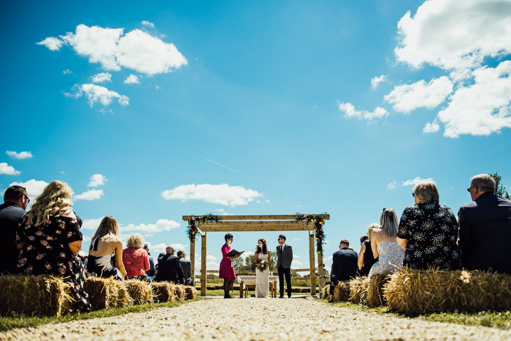 Outdoor Ceremony Pagoda Flowers Aisle Long Furlong Farm Wedding Michelle Wood Photographer