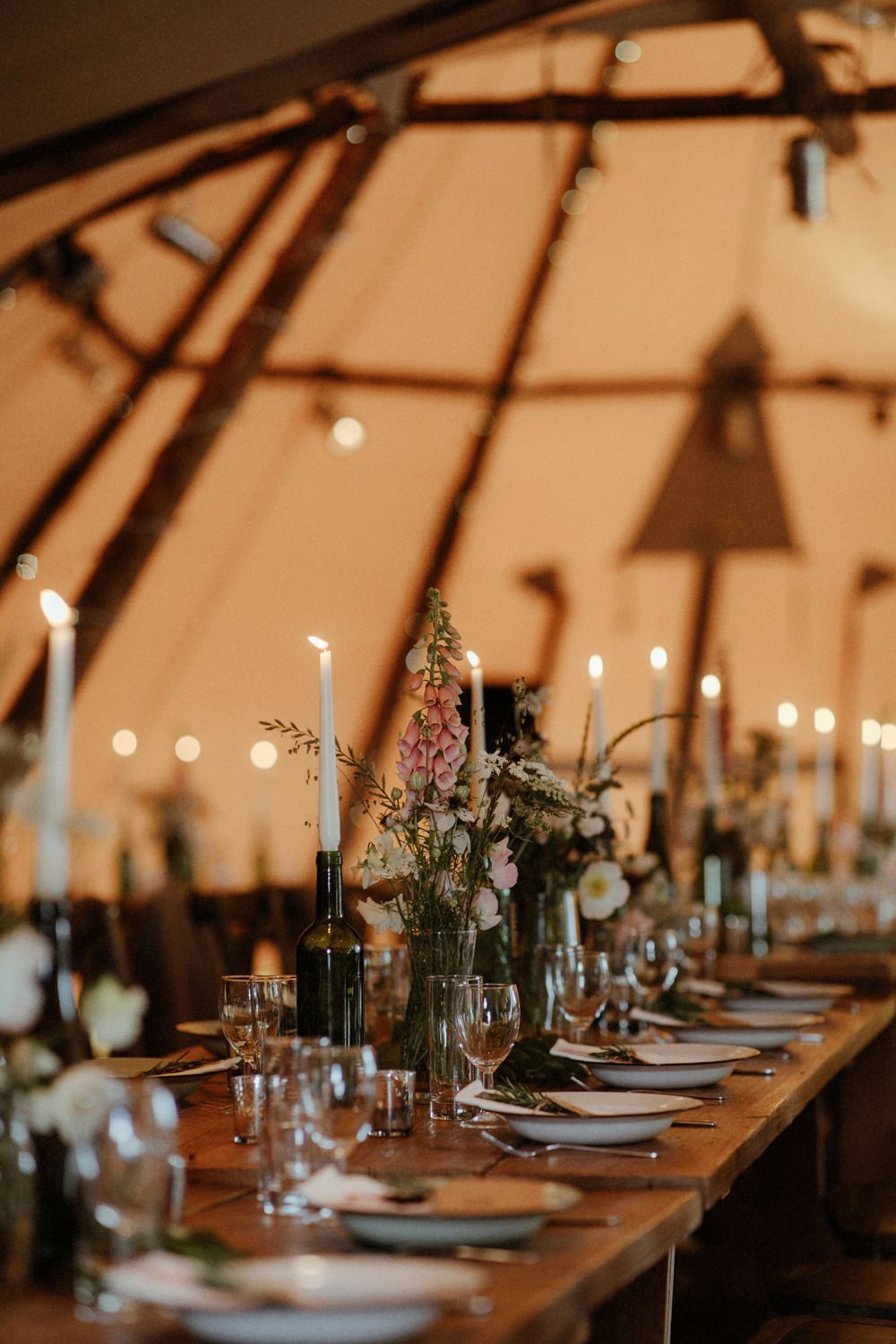 Tipi Reception Decor Decoration Candles Fairy Lights Flowers Outdoor Wedding UK Olivia and Dan Photography