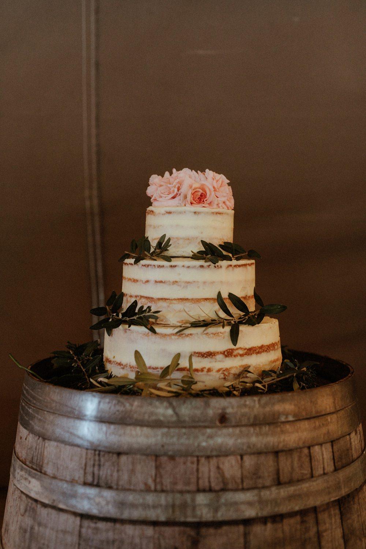Buttercream Semi Naked Cake Sponge Layer Flowers Barrel Outdoor Wedding UK Olivia and Dan Photography