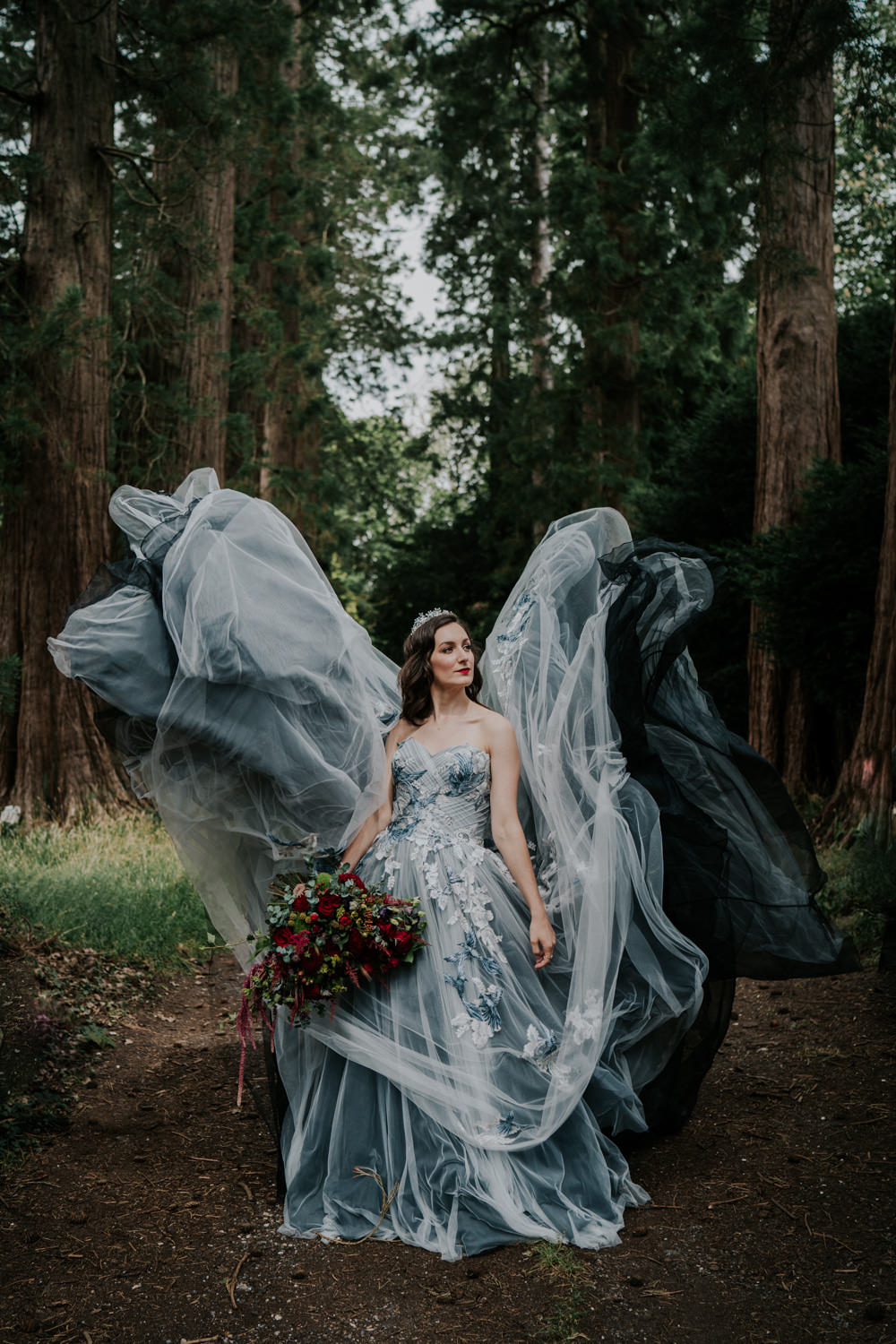 Snow White Wedding Inspiration Joasis Photography Dress Gown Bride Bridal Black Grey Tulle Strapless