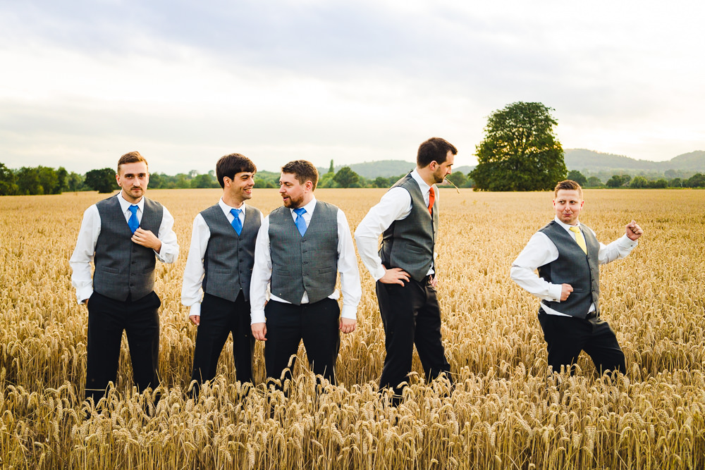 Groom Suit Orange Tie Waistcoat Groomsmen Birtsmorton Court Wedding The Dignums