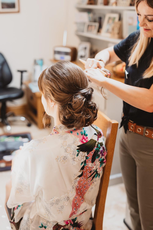Bride Bridal Hair Style Up Do Bun Clear Marquee Wedding Sarah Brookes Photography