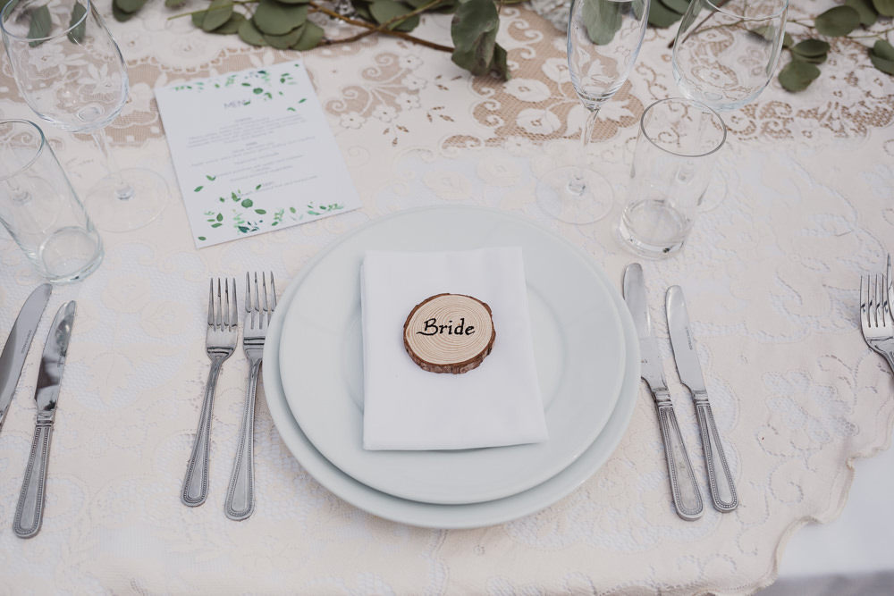 Place Setting Name Log Slice Clear Marquee Wedding Sarah Brookes Photography