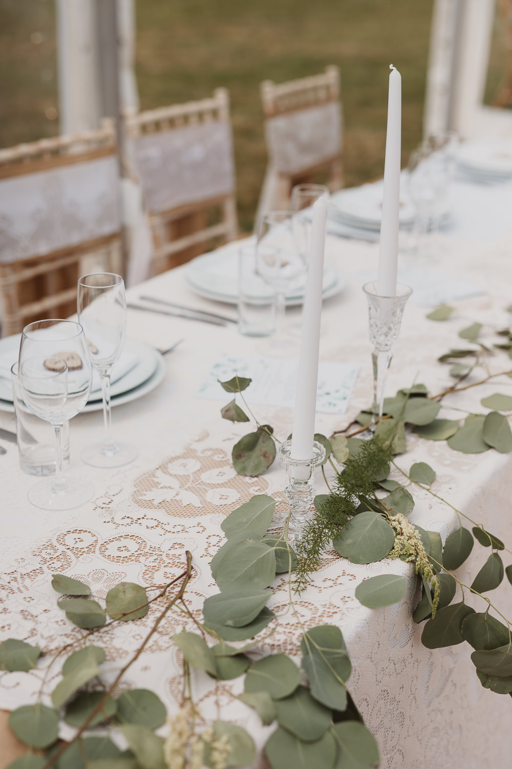 Candles Greenery Eucalyptus Decor Clear Marquee Wedding Sarah Brookes Photography