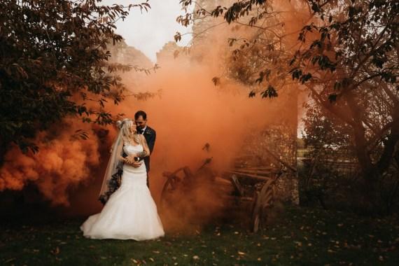 Cooling Castle Barn Wedding Thyme Lane Photography Smoke Bomb Orange Photo Photographs Portraits Halloween