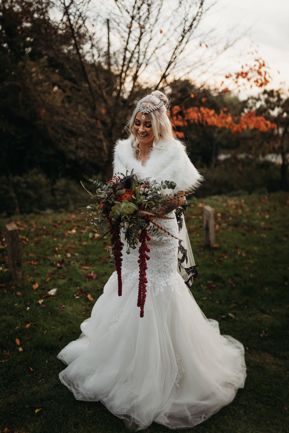 Bride Bridal Dress Gown Mermaid Train Lace Cover Up Cooling Castle Barn Wedding Thyme Lane Photography