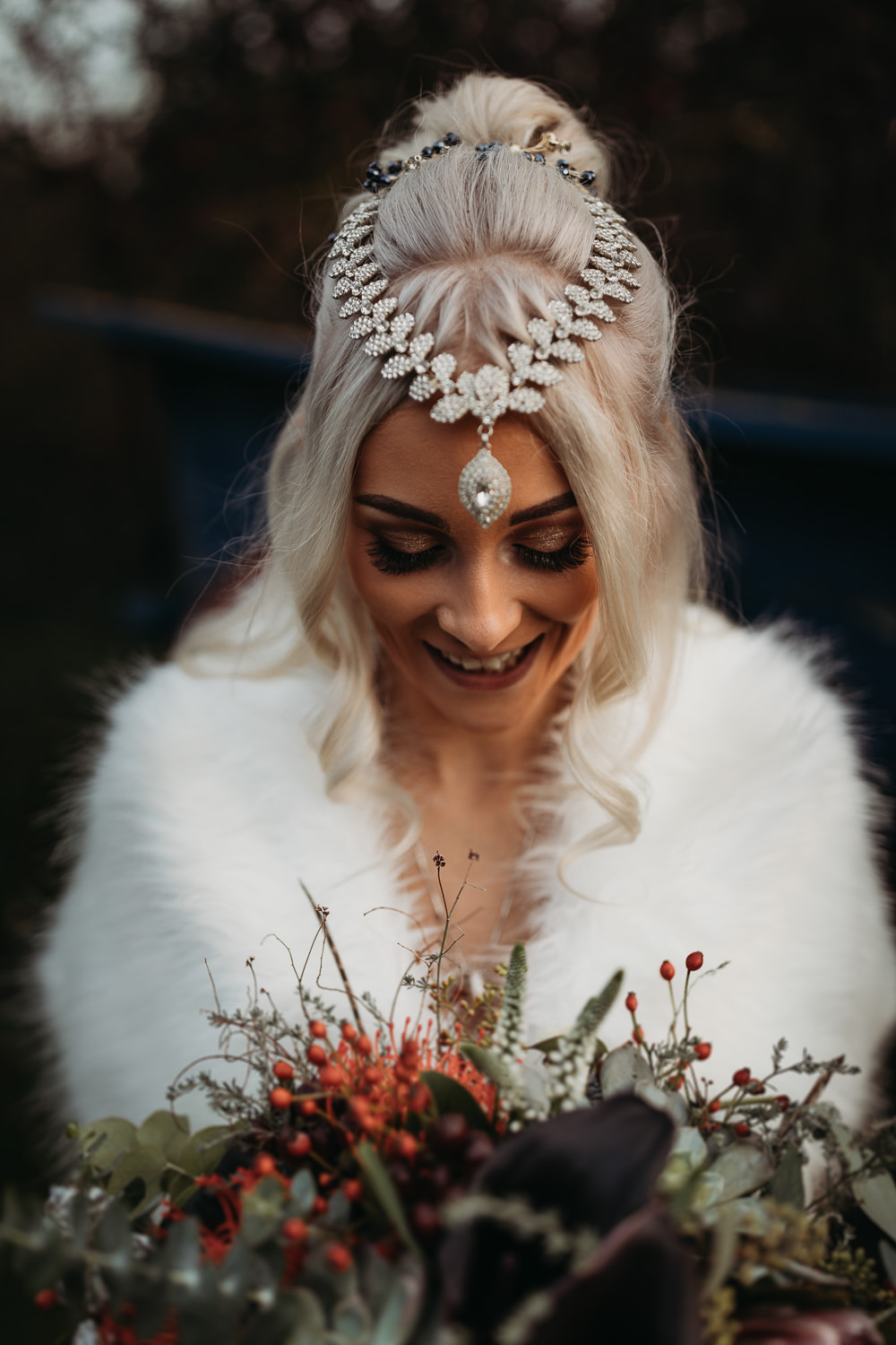 Bride Bridal Make Up Hair Accessory Cooling Castle Barn Wedding Thyme Lane Photography