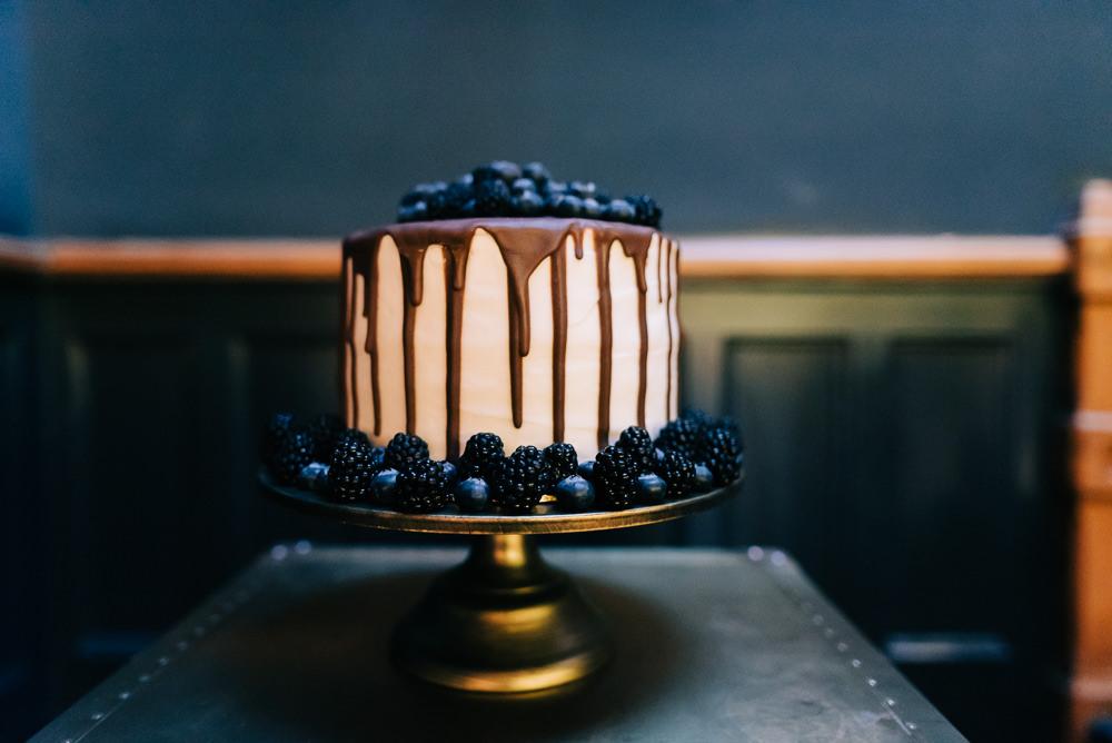 Drip Cake Blackberries Blueberries Glazebrook House Wedding Harriet Bird Photography