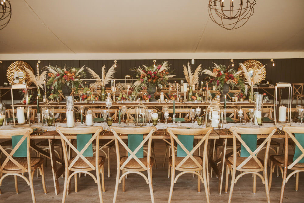 Decor Decoration Table Tablescape Glasses Candles Napkins Cutlery Table Runners Cross Back Chairs Green Gold Wedding Ideas Samantha Davis Photography
