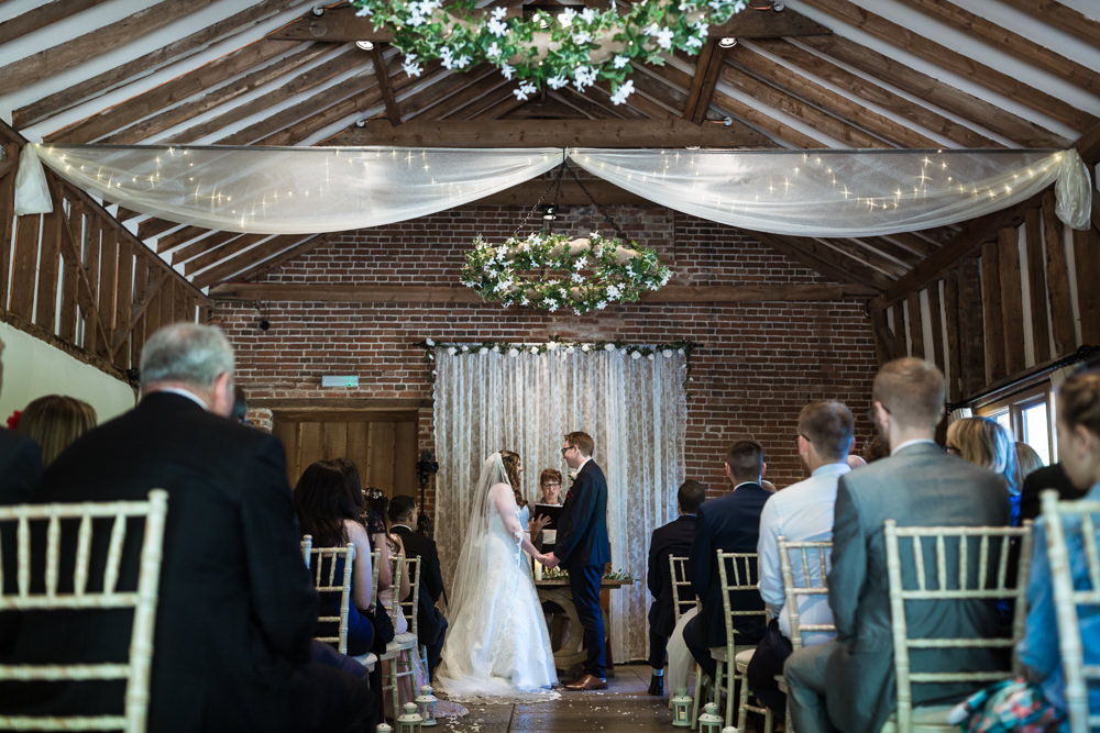 Ceremony Drapes Greenery Hoops Haughley Park Barn Wedding Him and Her Wedding Photography