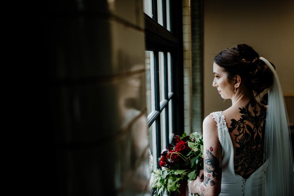 Dress Gown Bride Bridal Pronovias Lace Panels Low Back Train Indie Autumn Wedding Kazooieloki Photography