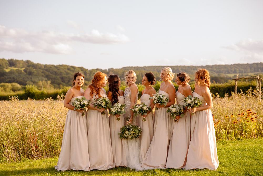 Bridesmaid Bridesmaids Dress Dresses Champagne Industrial Barn Wedding Toast Of Leeds
