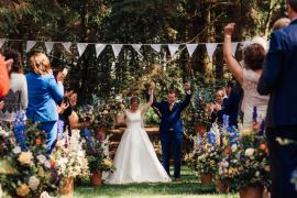 Lineham Farm Wedding Marni V Photography Woodland Outdoor Ceremony Bunting Flowers