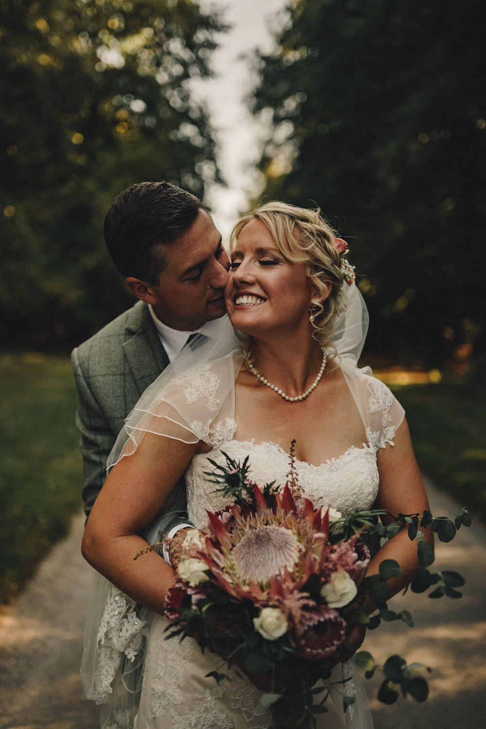 Bouquet Flowers Bride Bridal Protea Astilbe Thistle Marquee Wedding Home The Chamberlins