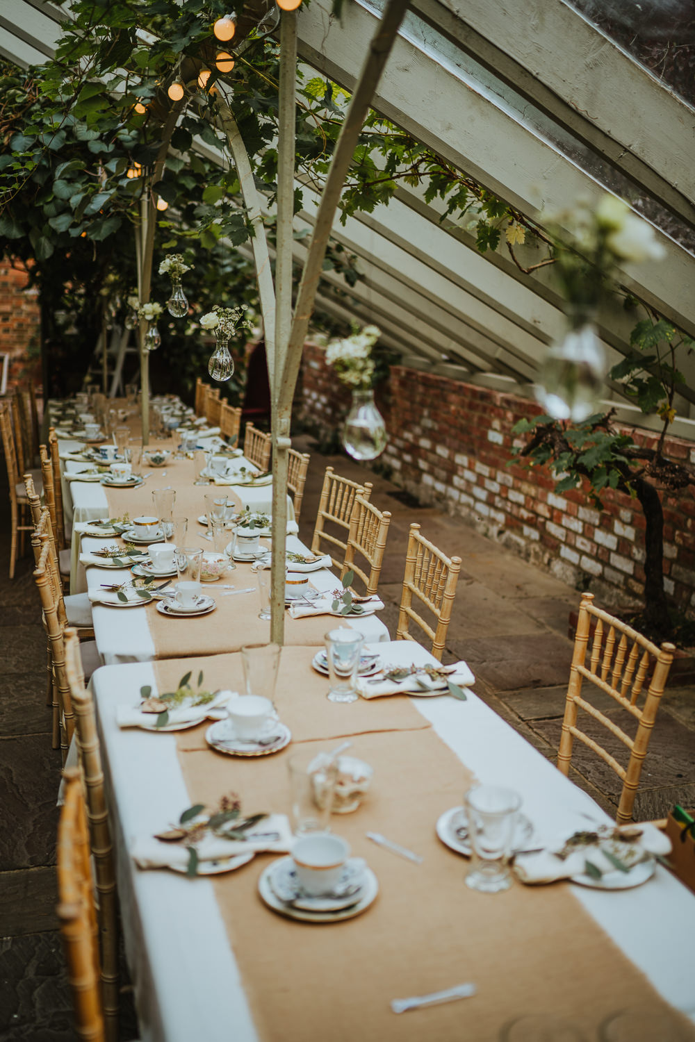 Glass House Reception Secret Garden Kent Trees Hessian Burlap Tables Festoon Lights Hanging Flowers Micro Wedding Nicola Dawson Photography