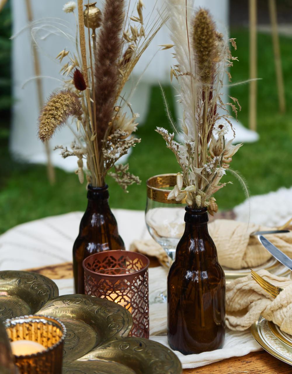 Brown Bottles Flowers Grasses Pampas Grass Seeds Moroccan Wedding Inspiration Luke Batchelor Productions