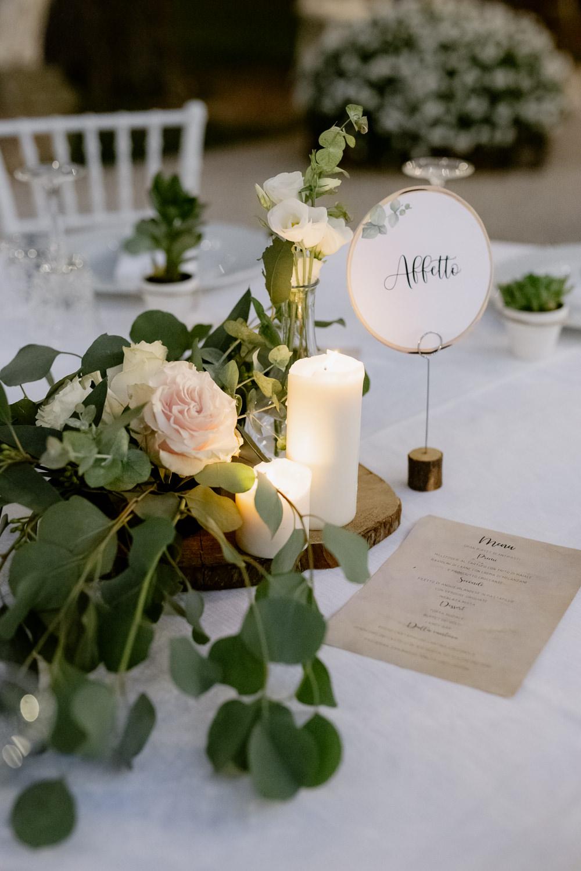 Centrepiece Flowers Log Candles Table Name Natural Italy Villa Wedding Flavia Eleonora Tullio