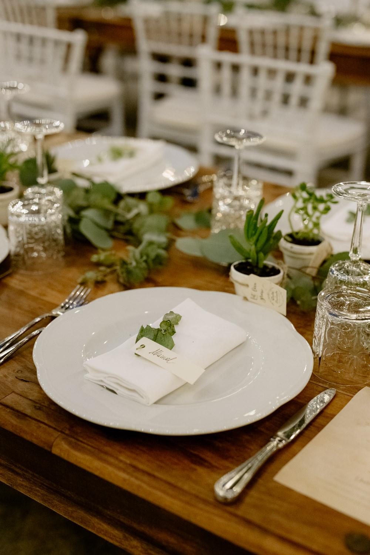Table Tablescape Greenery Foliage Gold Cutlery Candles Place Setting Natural Italy Villa Wedding Flavia Eleonora Tullio