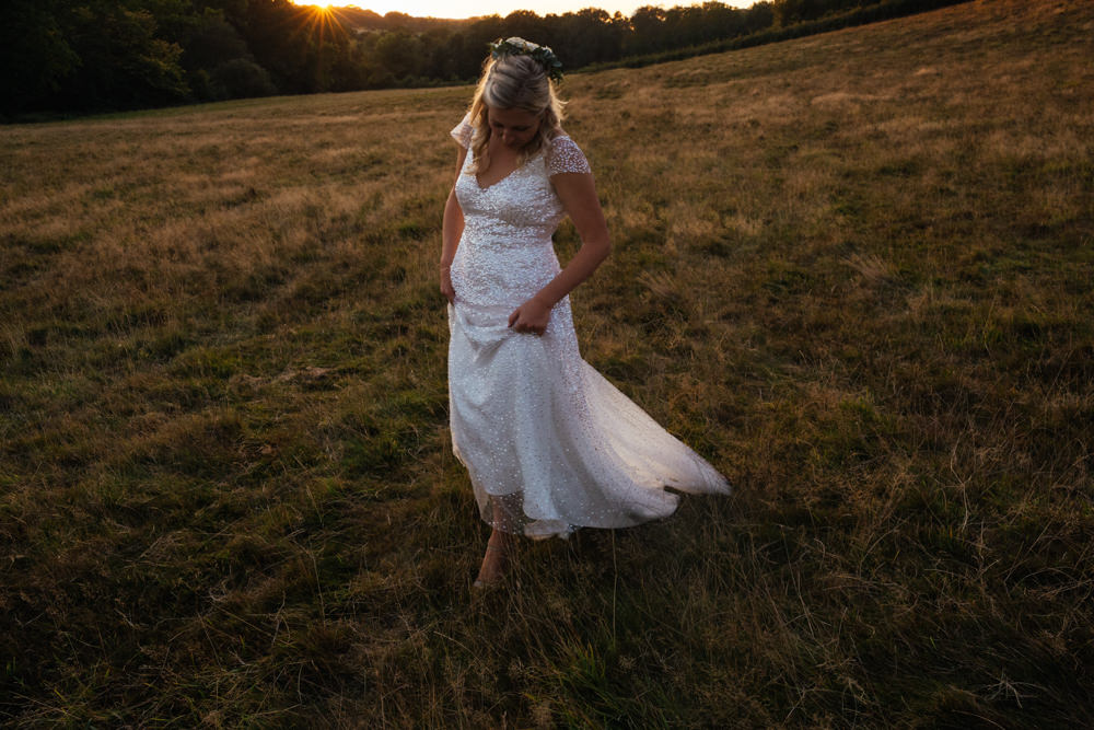 Dress Gown Bride Bridal Glitter Glittery Veil Oak Barn Wedding Matilda Delves Photography