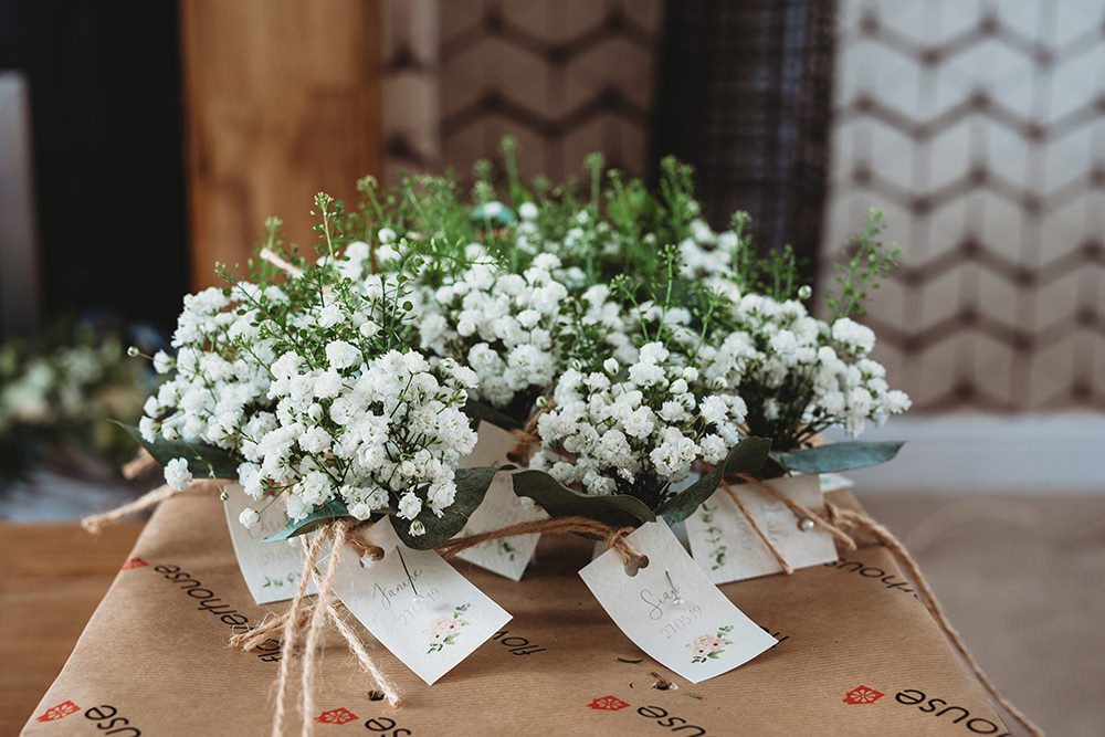 Bouquets Flowers Bride Bridal Gyphophila Whinstone View Wedding Emma Adamson Photography