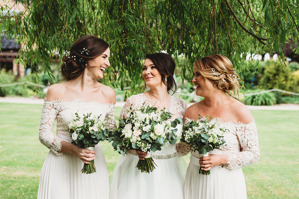 Bridesmaids Bridesmaid Dress Dresses Pale Pink Pleat Lace Sleeves Whinstone View Wedding Emma Adamson Photography