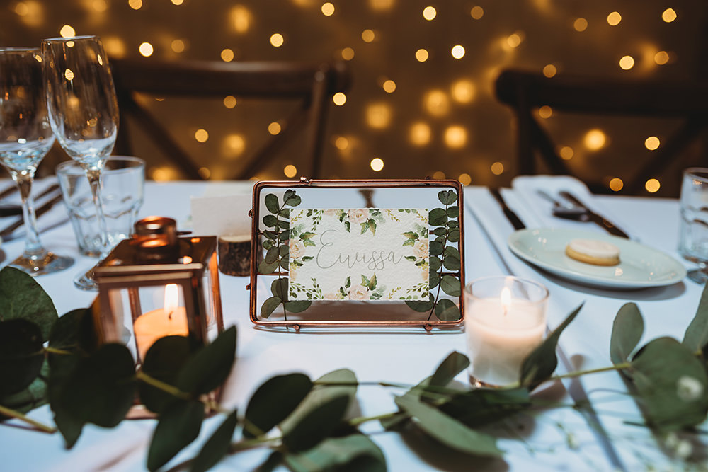 Table Name Greenery Foliage Floral Copper Whinstone View Wedding Emma Adamson Photography