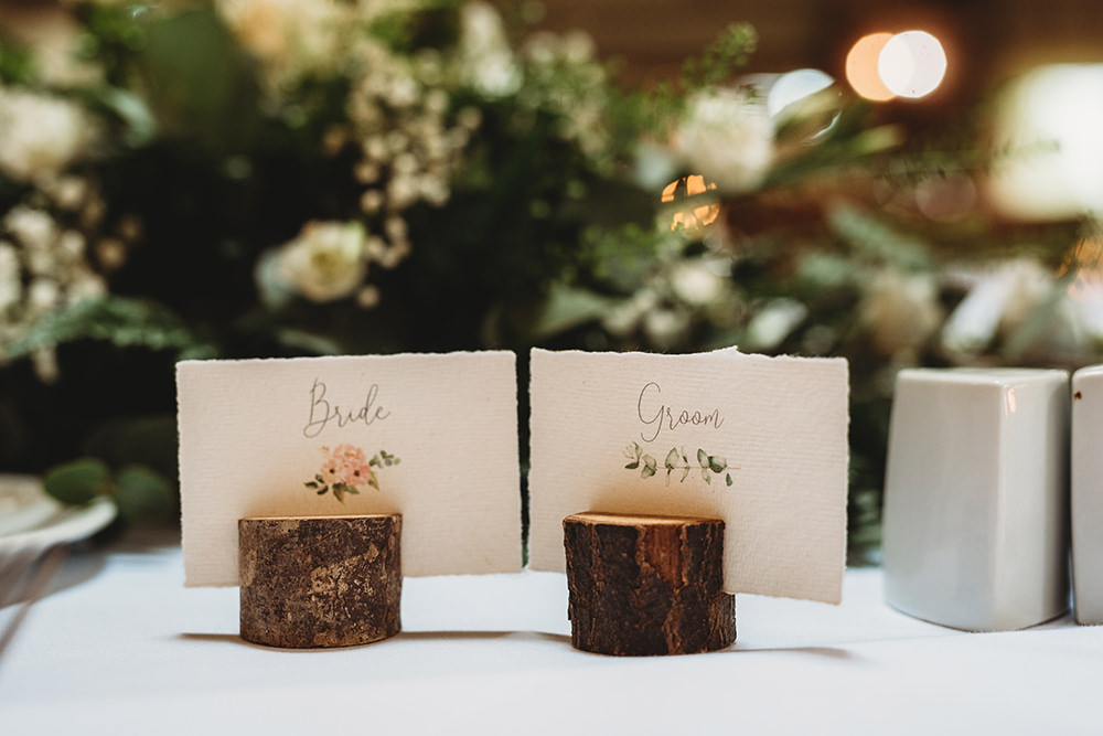 Place Name Cards Log Slice Whinstone View Wedding Emma Adamson Photography