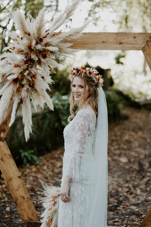Dress Gown Bride Bridal Lace Veil Tier Long Sleeves Bohemian Boho Wedding Ideas The Enlight Project