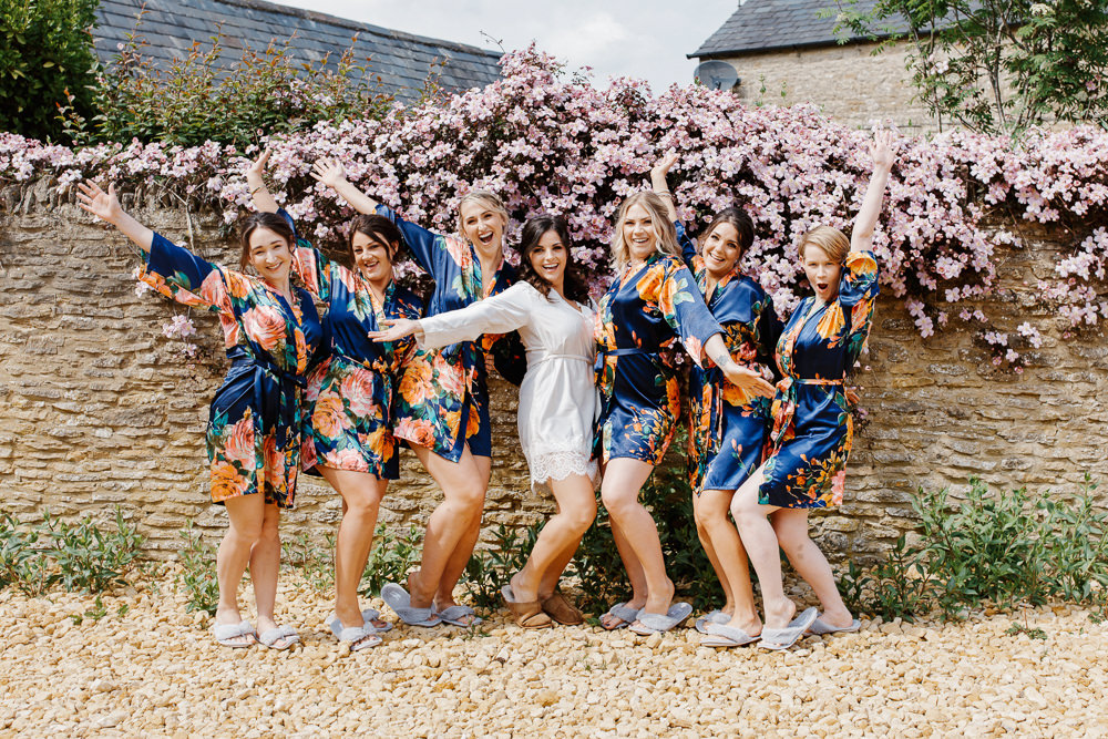 Bride Bridesmaids Dressing Gowns Robes Cotswolds Marquee Wedding Jessy Papasavva Photography