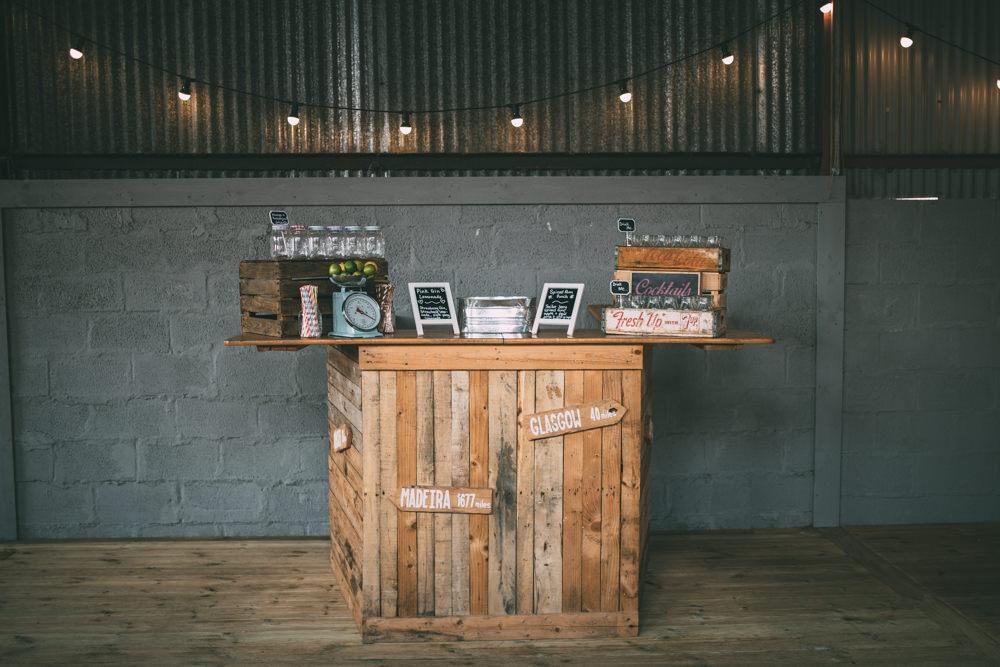Wooden Bar Dalduff Farm Wedding Northern Aye Photography